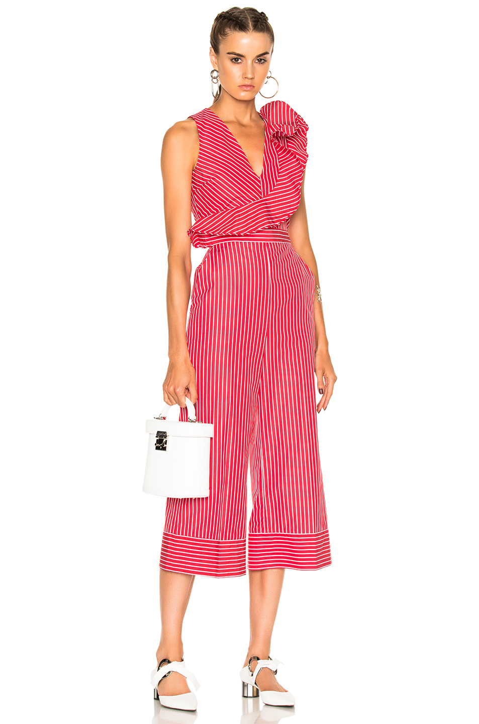 MSGM Striped Sleeveless Jumpsuit in Red,Stripes