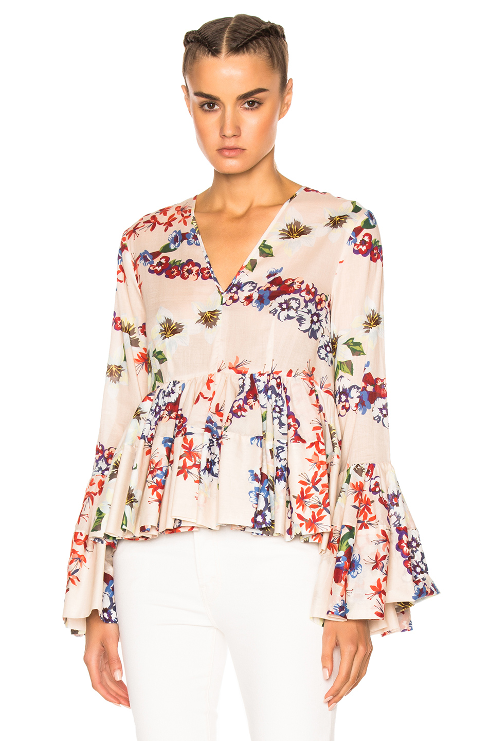 MSGM Printed Long Sleeve Top in Floral,White