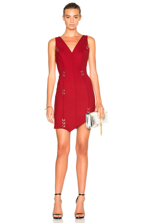 Mugler Metal Hoops Mini Dress in Red