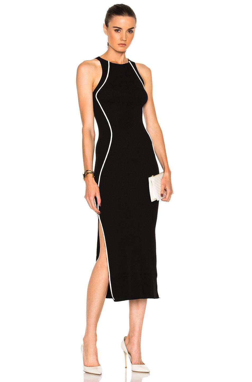 Mugler Contrasted Line Knit Dress in Black,White