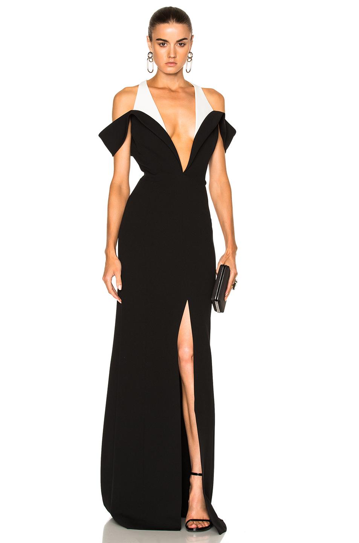 Mugler Technical Cady Dress in Black,White