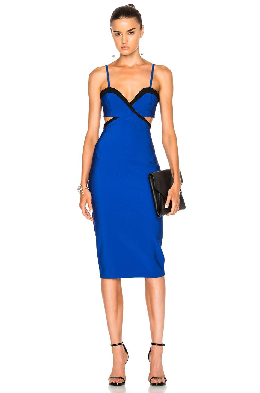 Mugler Mega Milan Bicolor Dress in Blue