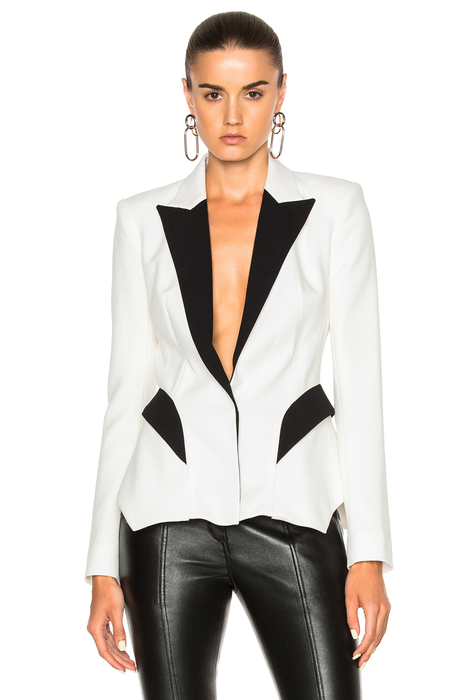 Mugler Technical Cady Blazer in Black,White