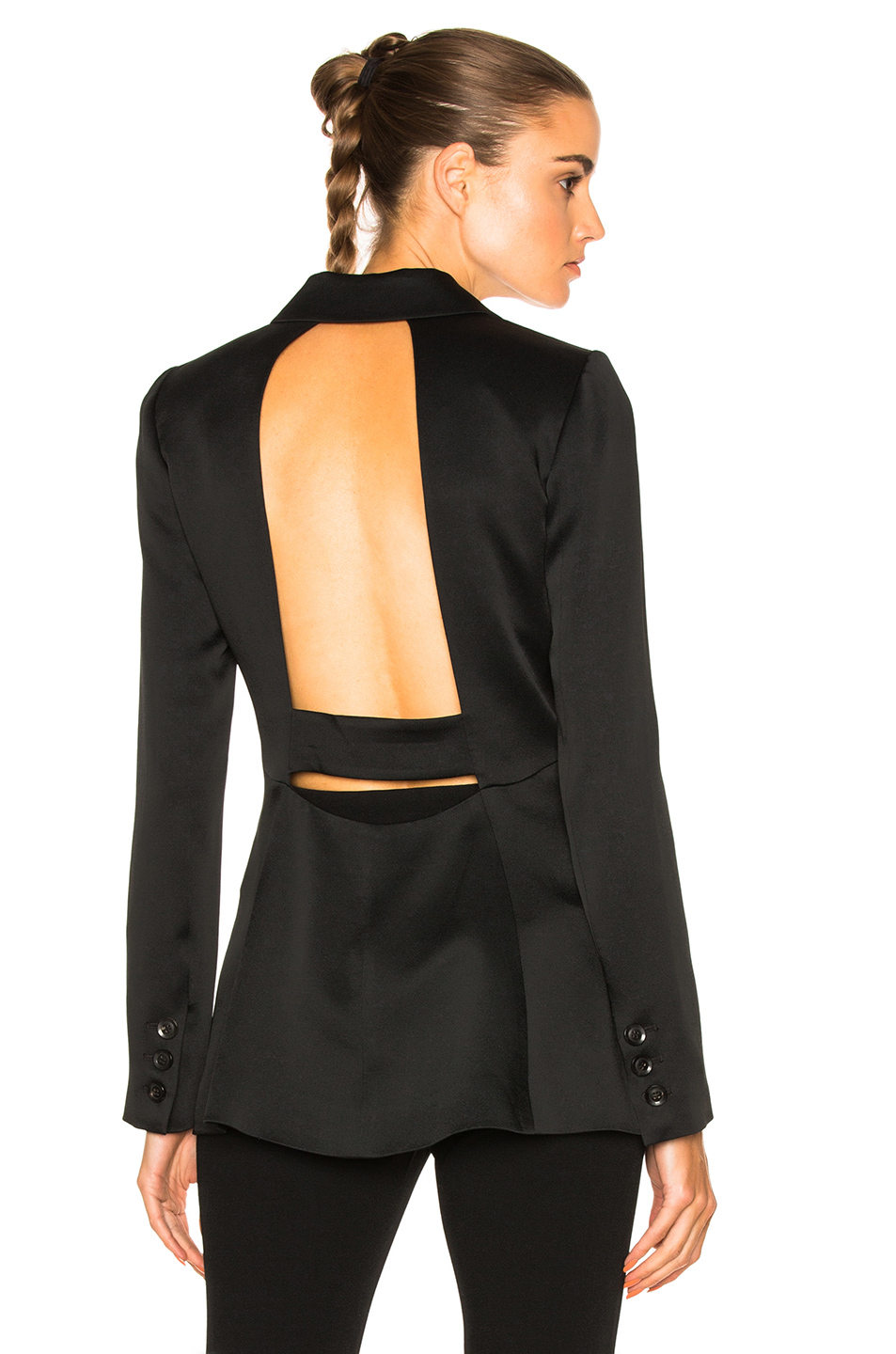 Marissa Webb Lois Satin Crepe Blazer in Black
