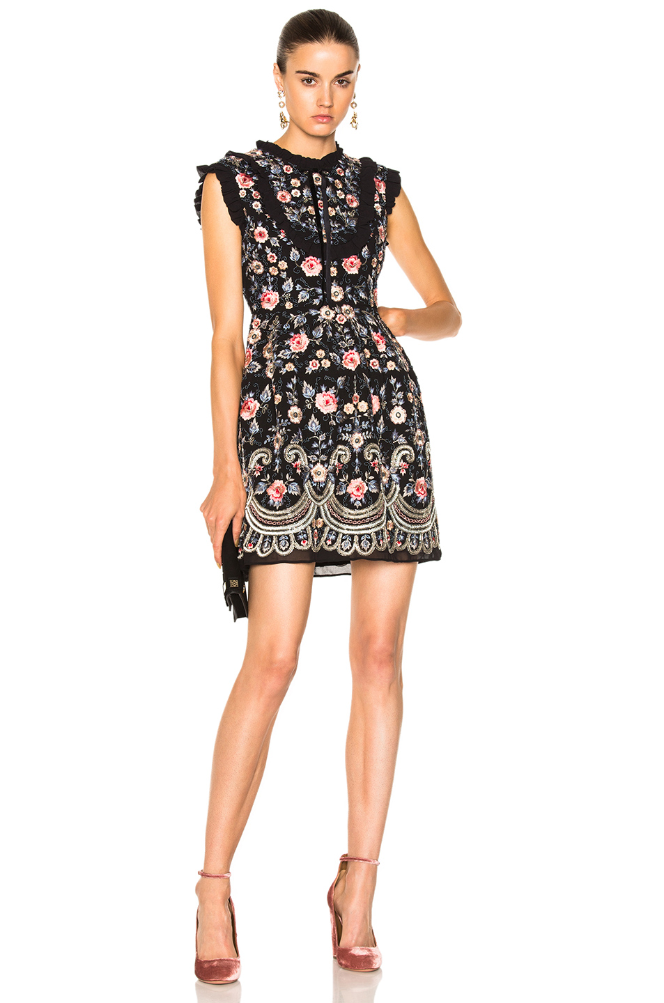 Needle & Thread Whisper Prom Dress in Black,Floral