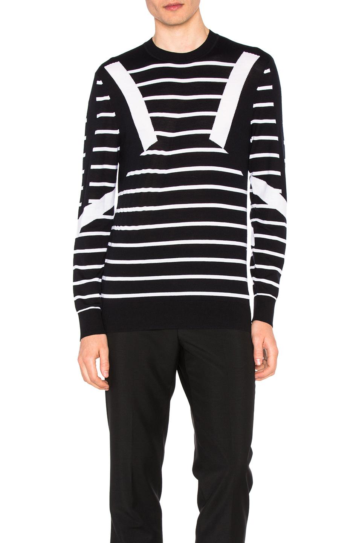 Neil Barrett Modernist Stripe Merino Sweater in Black,Stripes