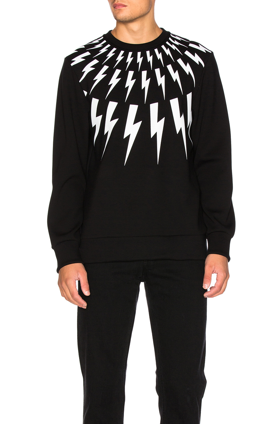 Neil Barrett Thunderbolt Fair Isle Sweatshirt in Black