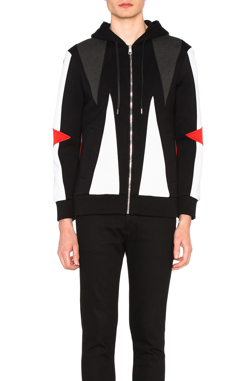 Neil Barrett Abstract Modernist Zip Hoodie in Black