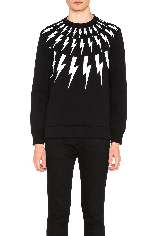 Neil Barrett Fair Isle Thunderbolt Print Sweatshirt in Black