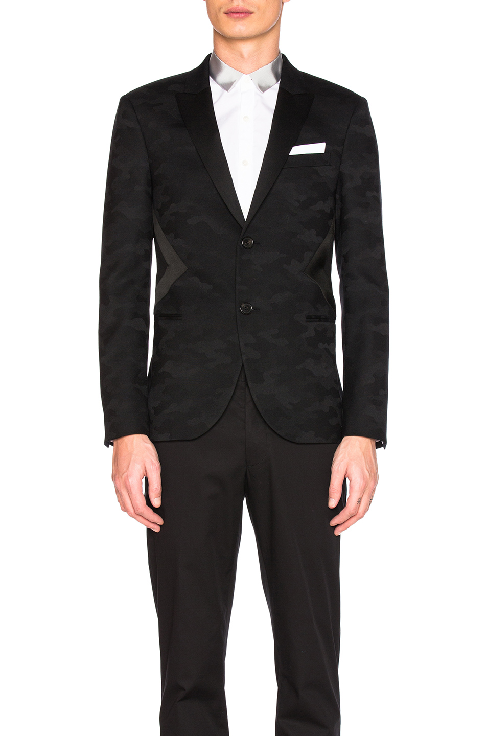 Neil Barrett Modernist Tuxedo Jacket in Black,Abstract