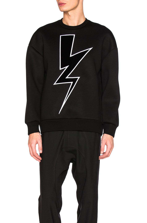 Neil Barrett Velvet Abstract Bolt Sweatshirt in Black