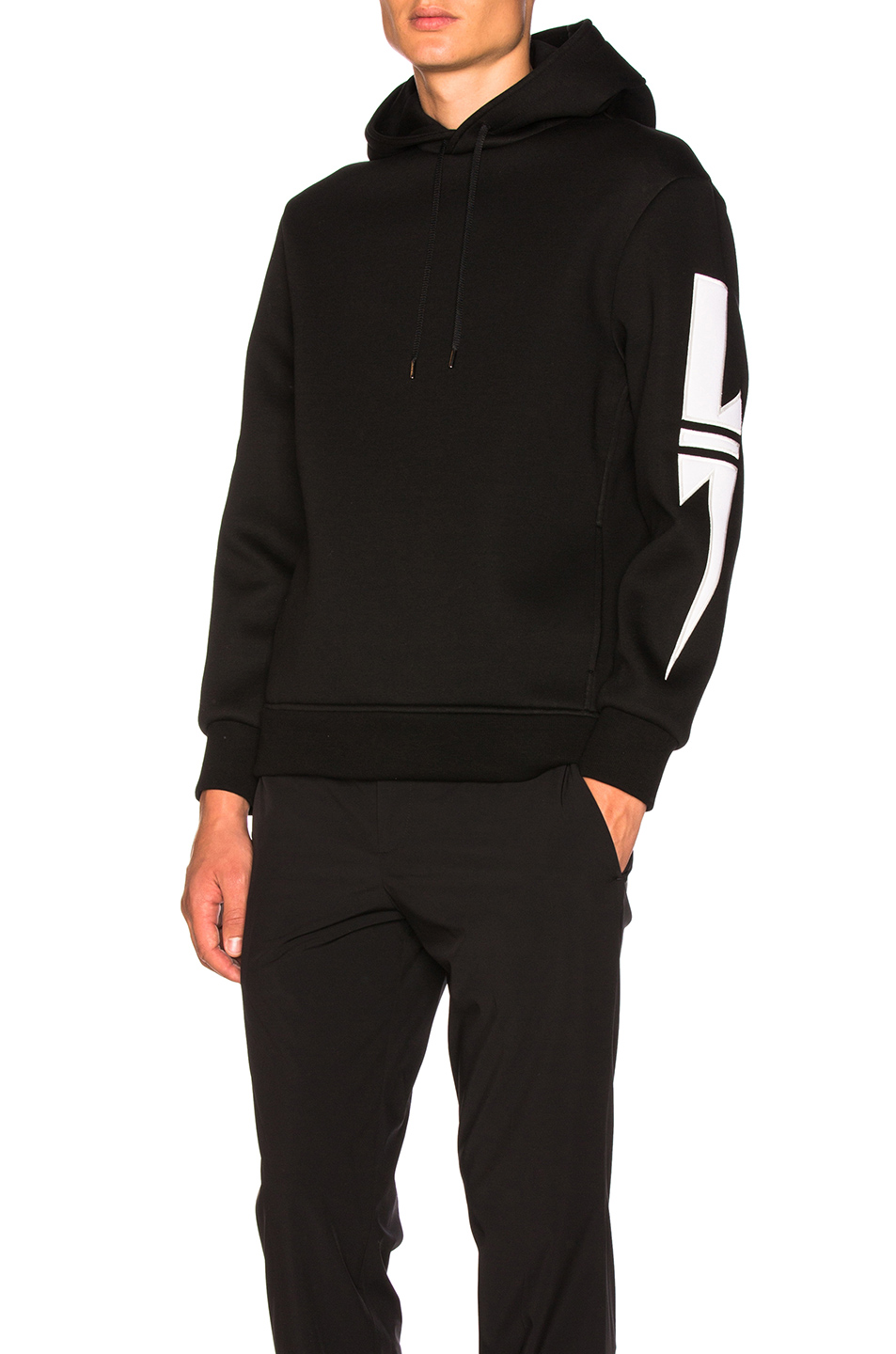 Neil Barrett Striped Bolt Patch Hoodie in Black