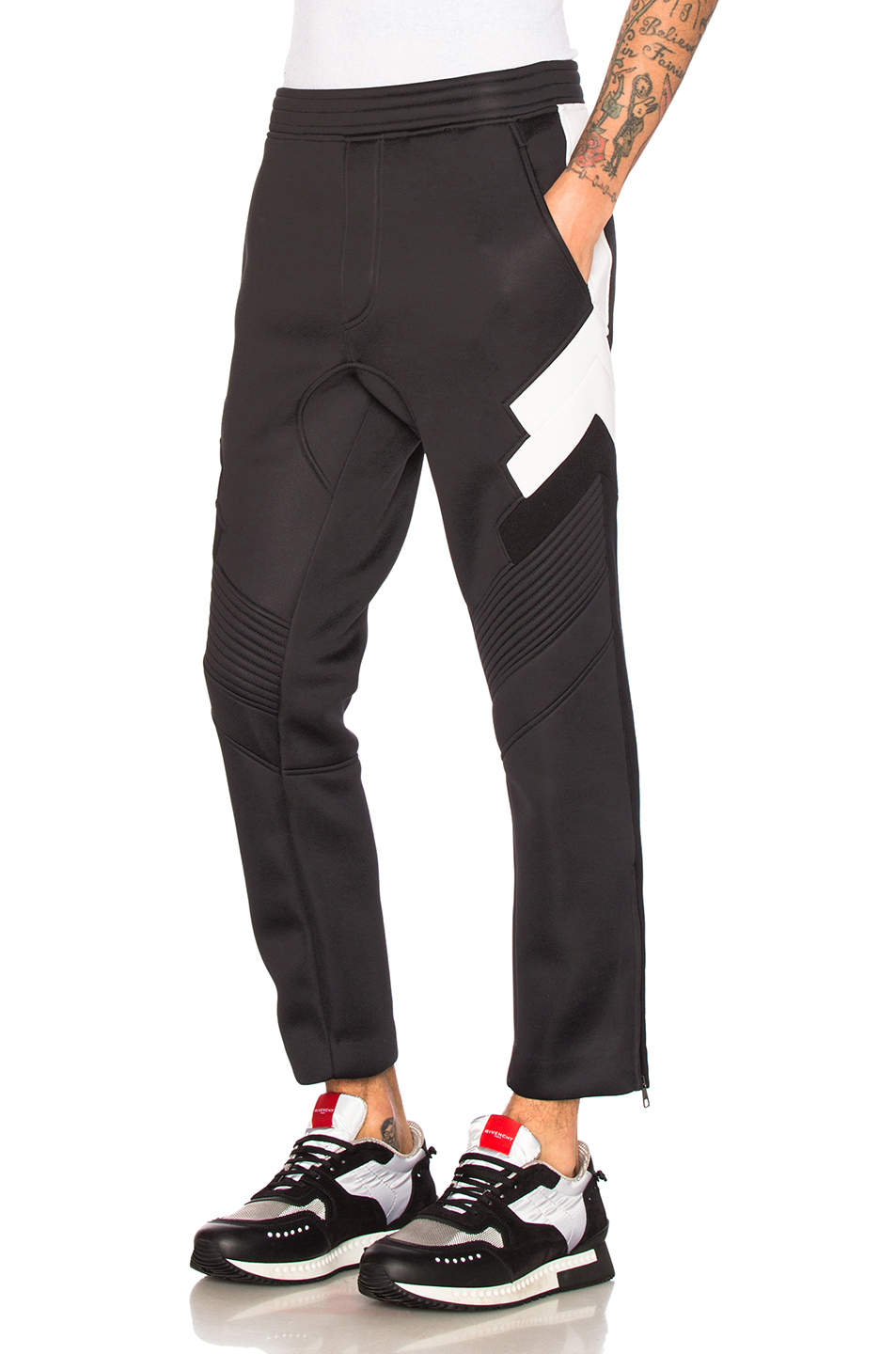 Neil Barrett Biker Sweatpants in Black,White