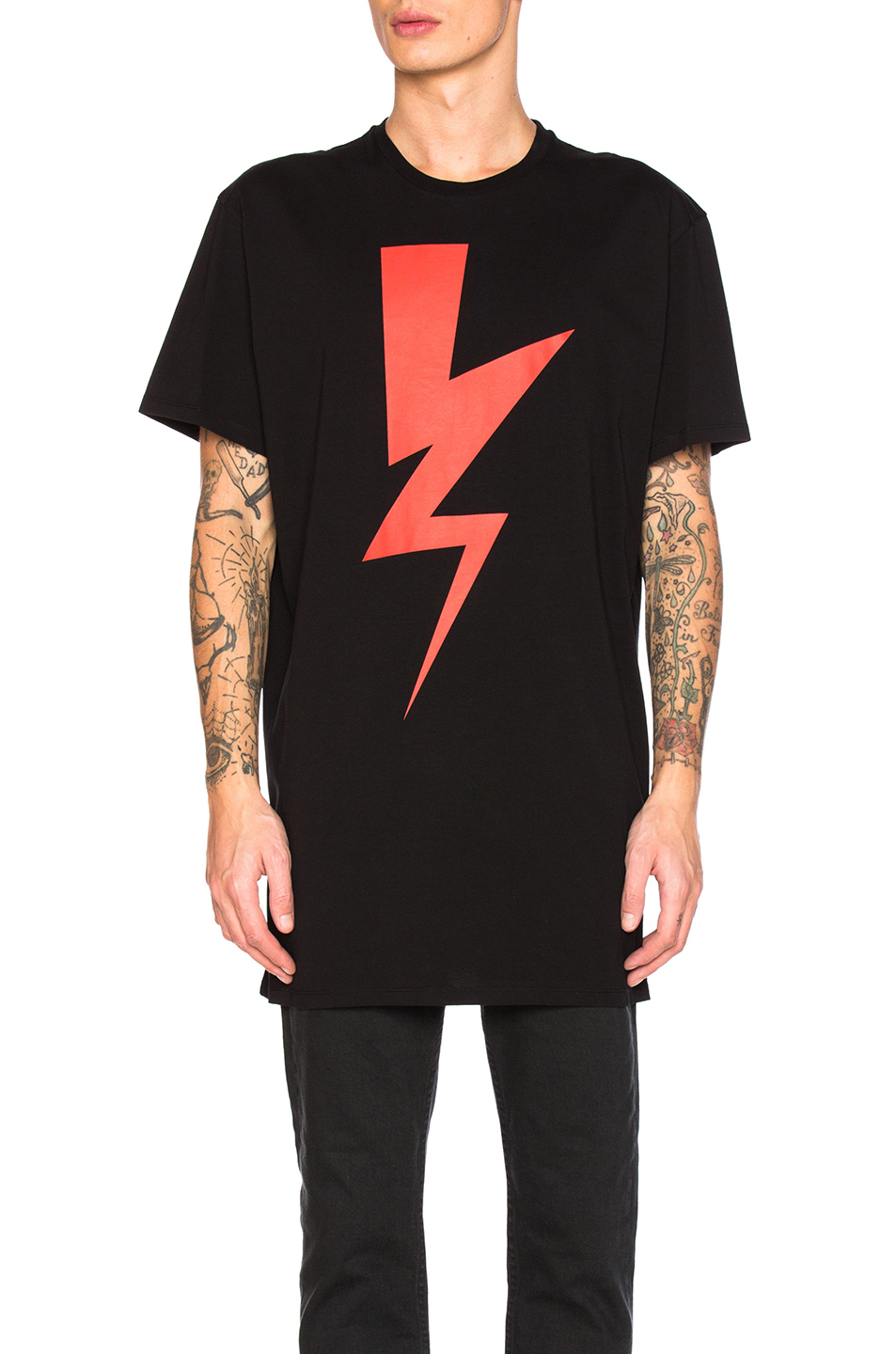 Neil Barrett Oversize Abstracted Bolt Tee in Black