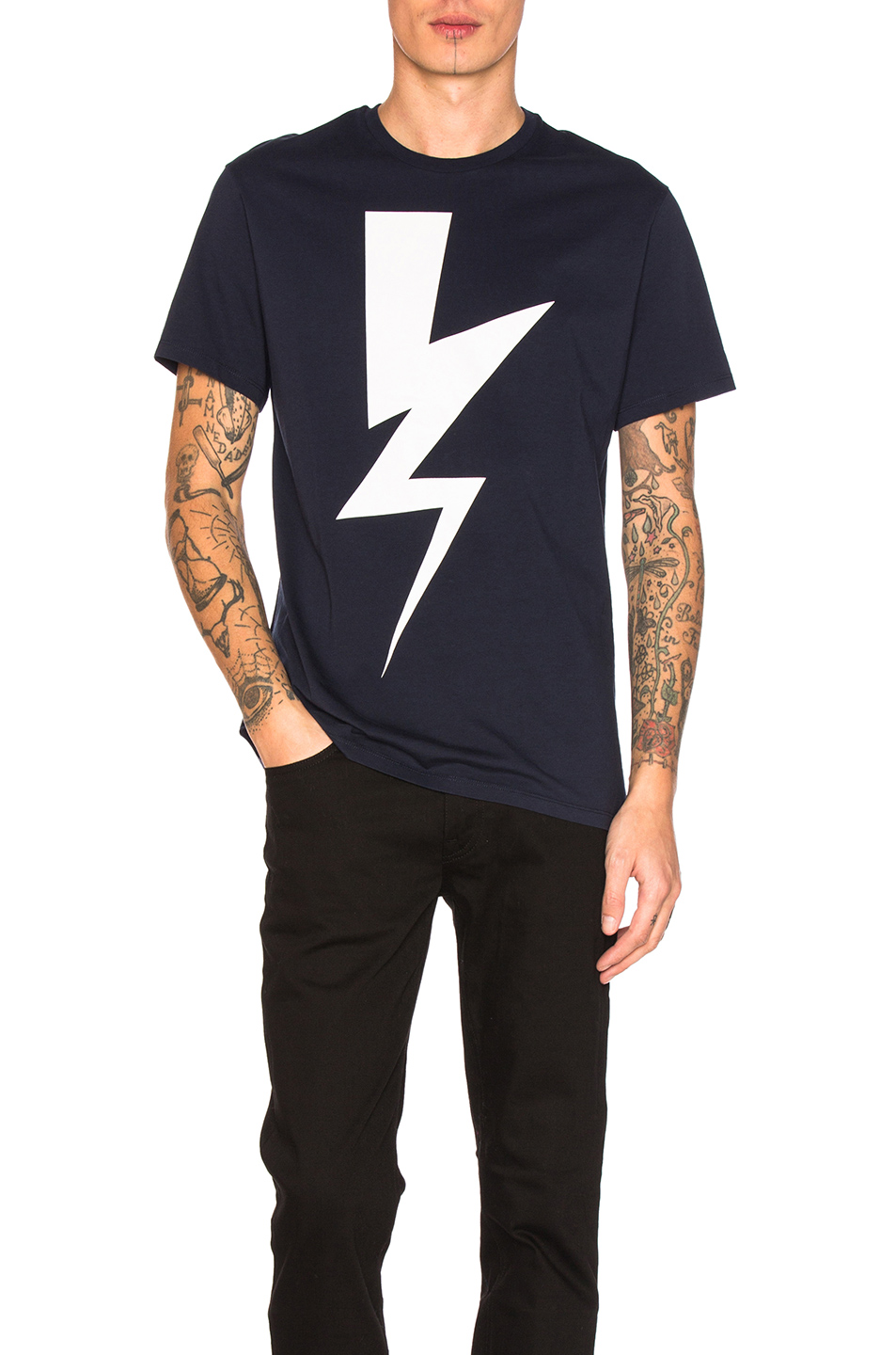 Neil Barrett Abstracted Bolt Tee in Blue