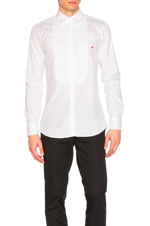Neil Barrett Icon Graphics Tuxedo Shirt in White