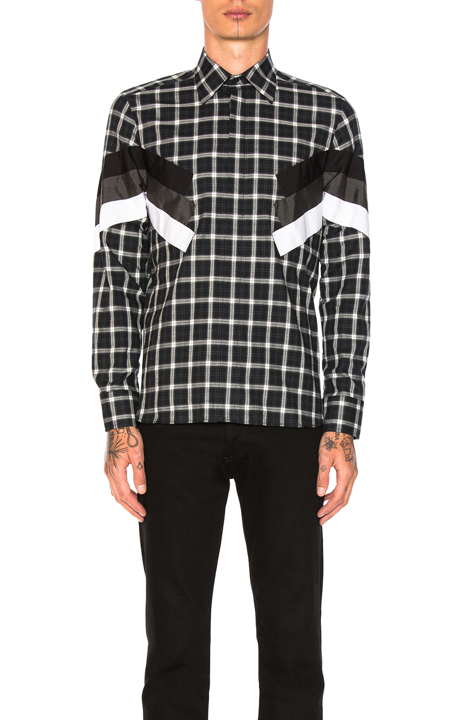 Neil Barrett Modernist Tartan Shirt in Black,Checkered & Plaid