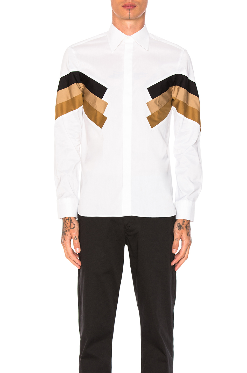Neil Barrett Modernist Poplin Shirt in Brown,Black,Stripes,White