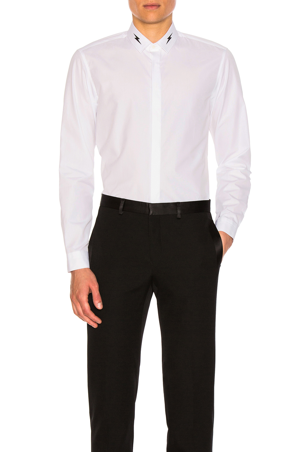 Neil Barrett Thunderbolt Collar Shirt in White