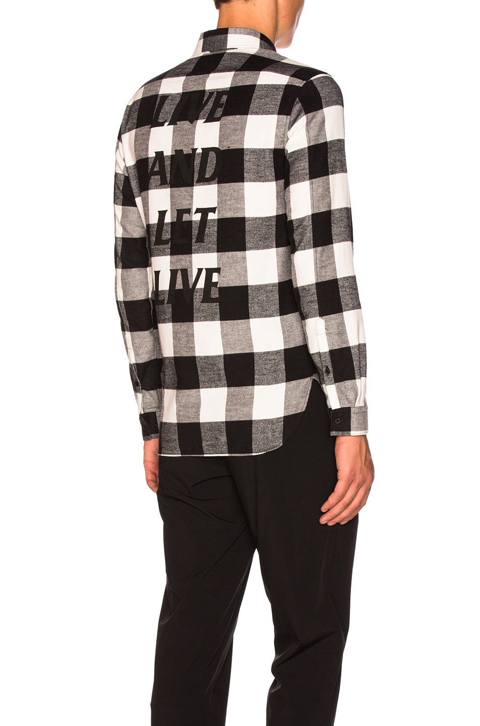 Neil Barrett Live & Let Live Printed Flannel in Black,White,Checkered & Plaid
