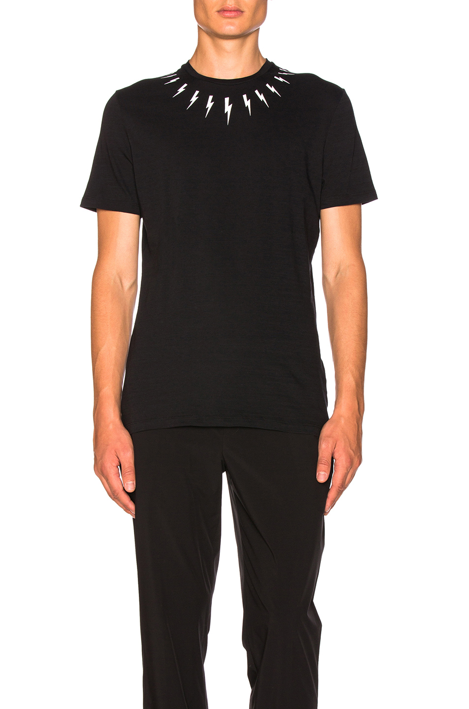 Neil Barrett Single Fair Isle Thunderbolt Tee in Black