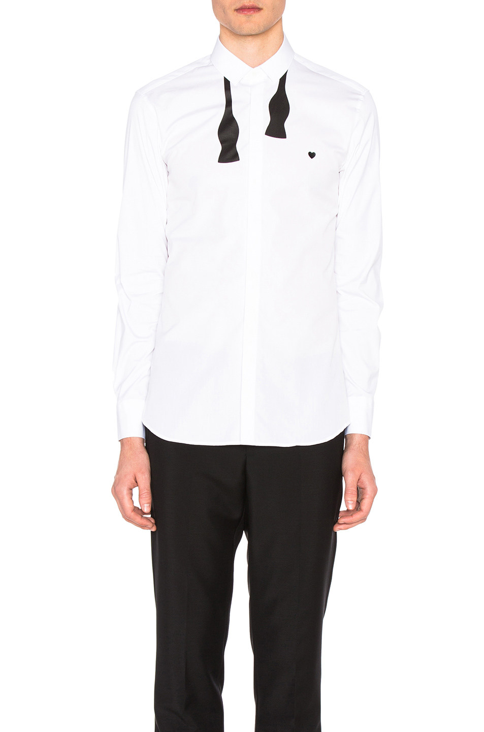 Neil Barrett Bow Tie Print Heart Shirt in White