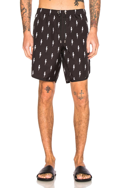 Photo of Neil Barrett Thunderbolt Swim Trunks in Abstract,Black - shop Neil Barrett menswear