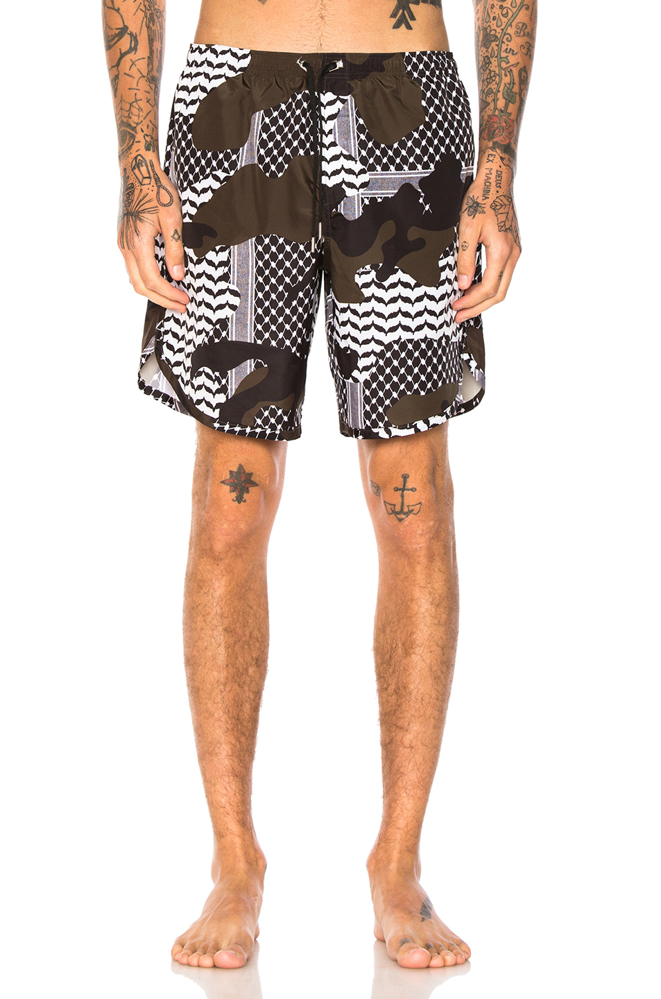 Neil Barrett Camouflage Swim Trunks in Abstract,Black,Green,White