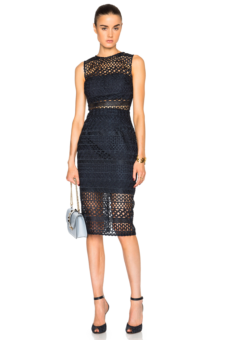 NICHOLAS Braided Lace Fitted Dress in Blue