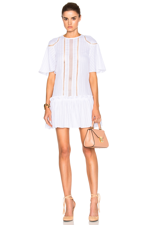 NICHOLAS Shoulder Panel Dress in White