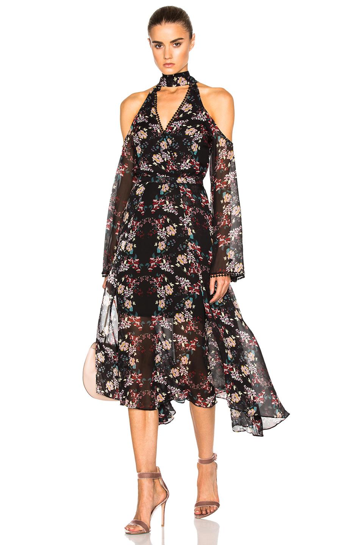 NICHOLAS Wrap Front Dress in Black,Floral