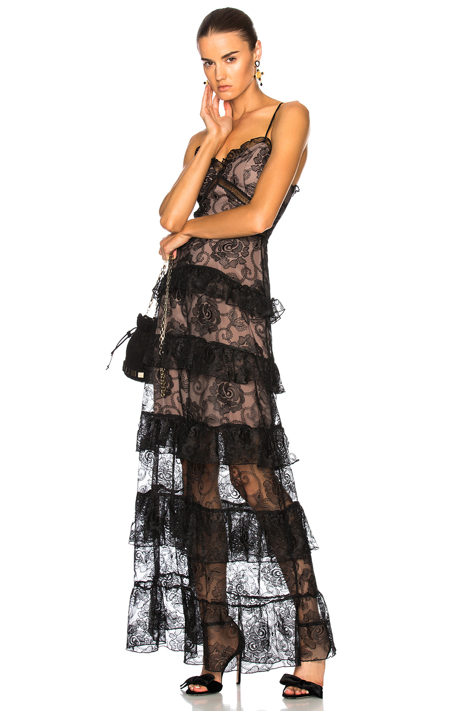 NICHOLAS Rosie Lace Tiered Gown in Black