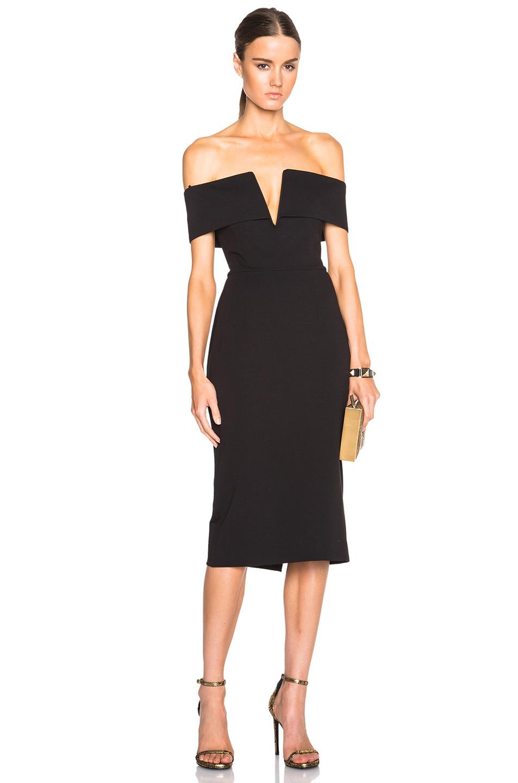 NICHOLAS Shoulder Band V Dress in Black