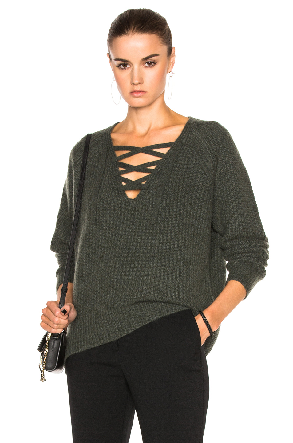 Nili Lotan Cashmere Alix Sweater in Green