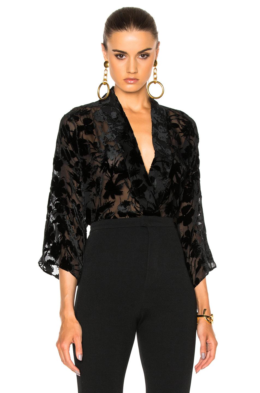 Nili Lotan Helga Top in Black,Floral