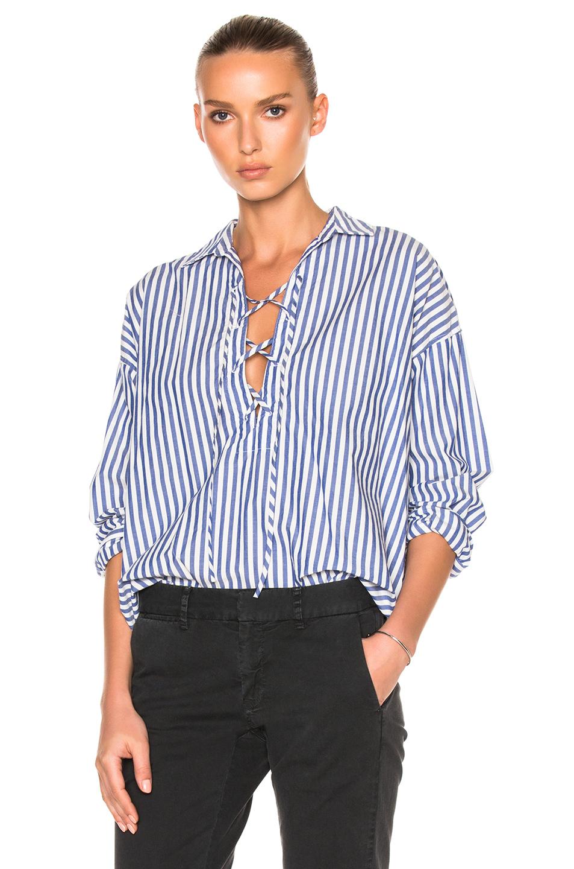 Nili Lotan Shiloh Top in Blue,Stripes,White