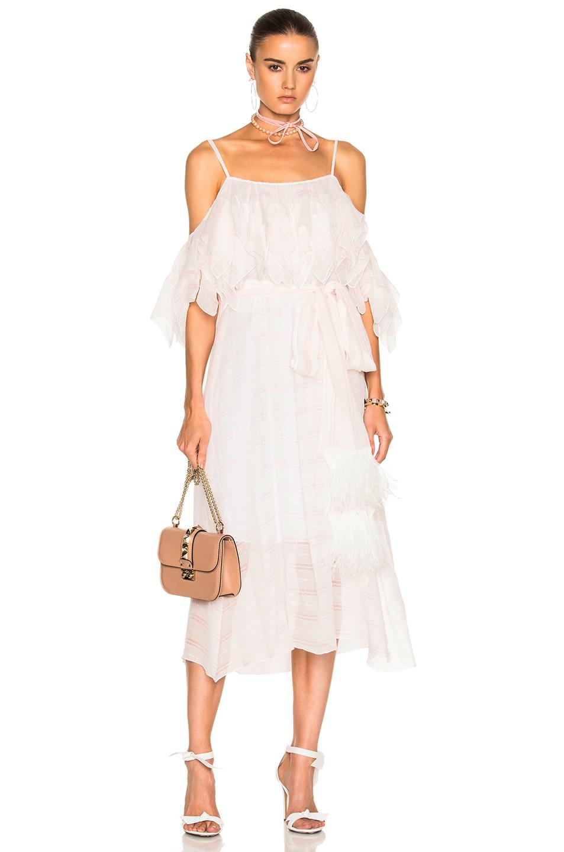 No. 21 Cold Shoulder Midi Dress in Pink,Stripes,White