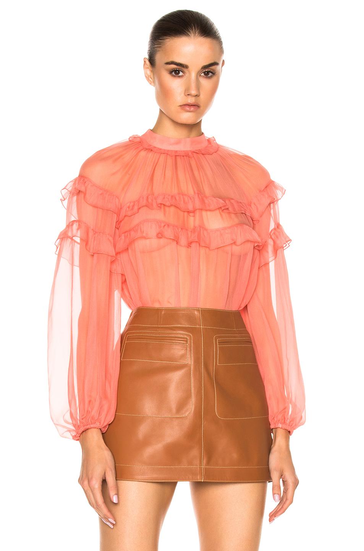 No. 21 Long Sleeve Ruffle Top in Pink,Orange