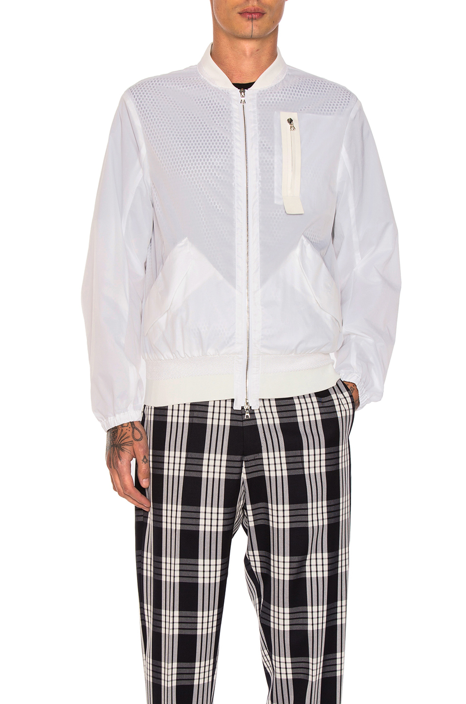 OAMC Nylon Bomber Jacket in White