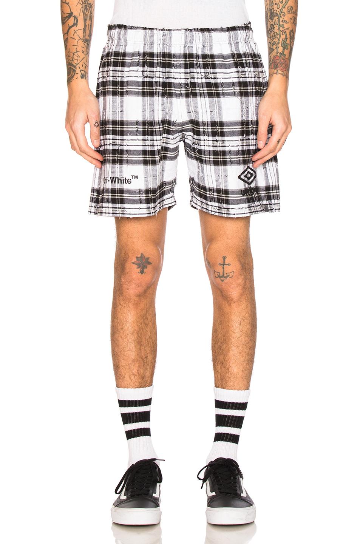 OFF-WHITE x Umbro Shorts in White,Checkered & Plaid,Black