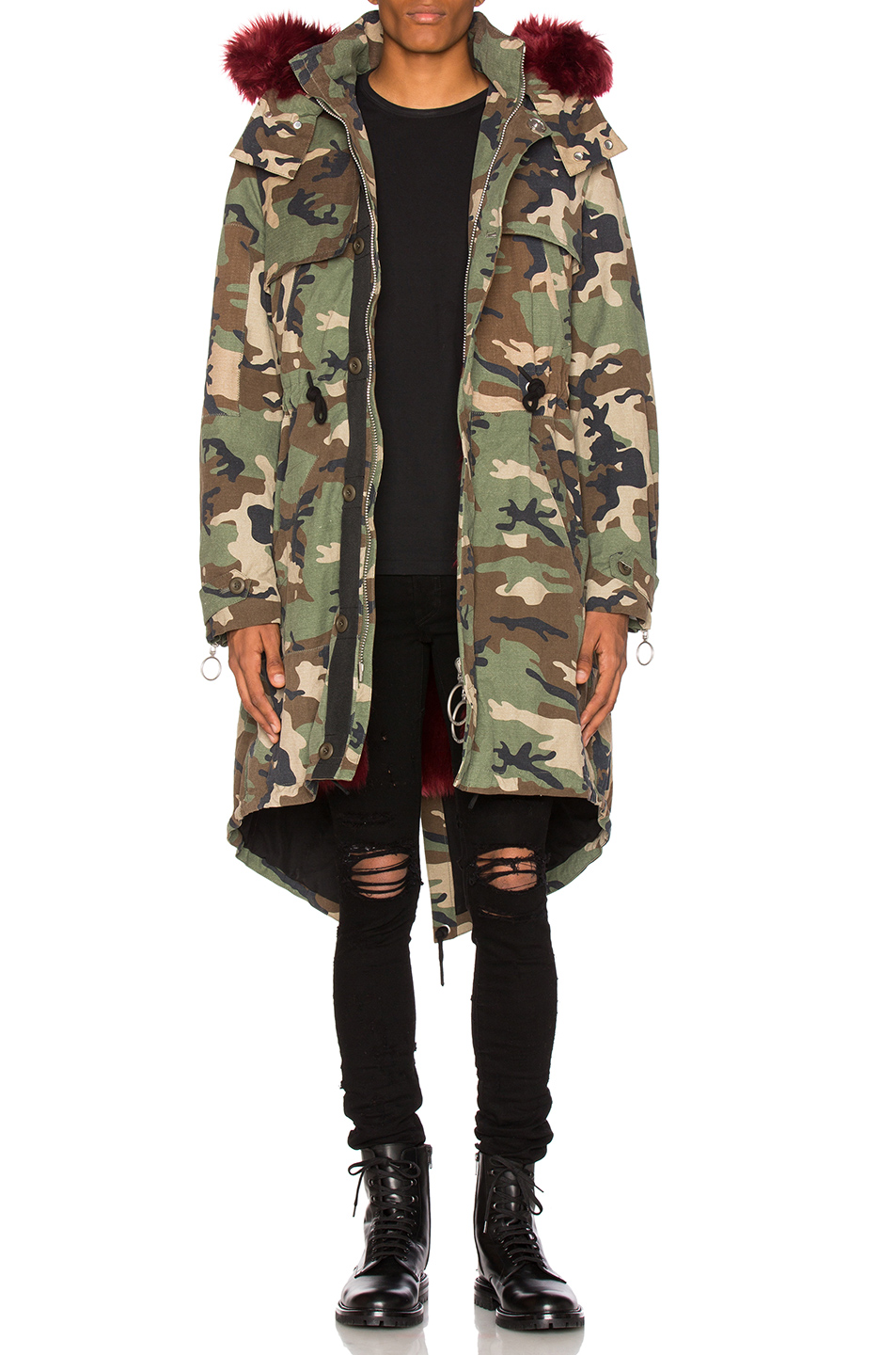 OFF-WHITE Camouflage Parka With Faux Fur in Abstract,Green