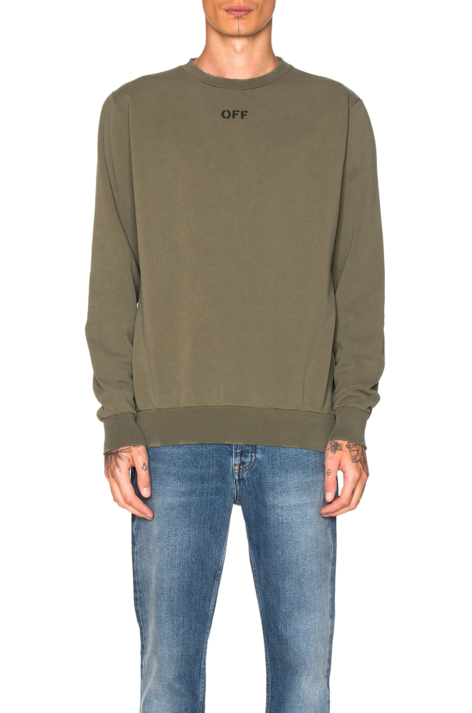 OFF-WHITE Washed Crewneck in Green
