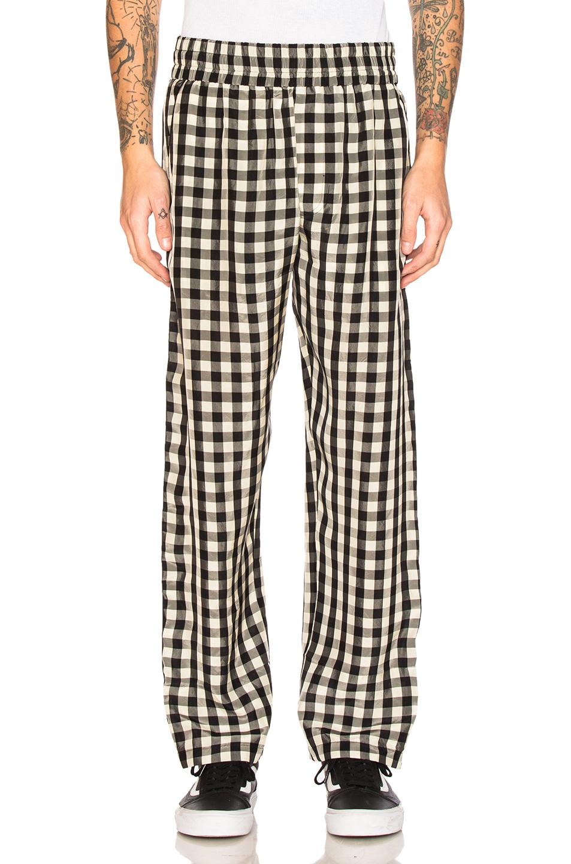 OFF-WHITE Pajama Pant in Black,Checkered & Plaid,White