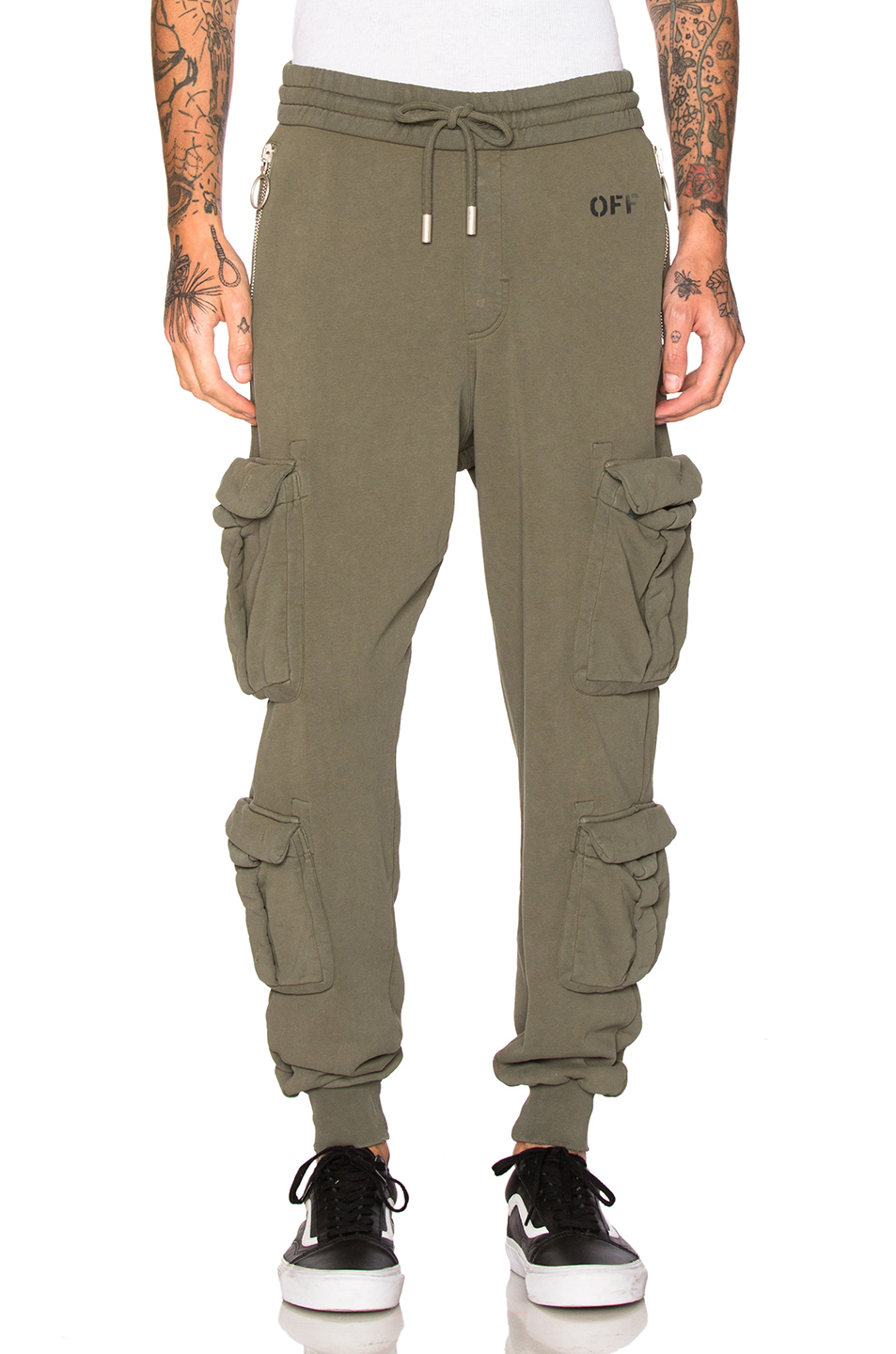 OFF-WHITE Washed Cargo Pant in Green