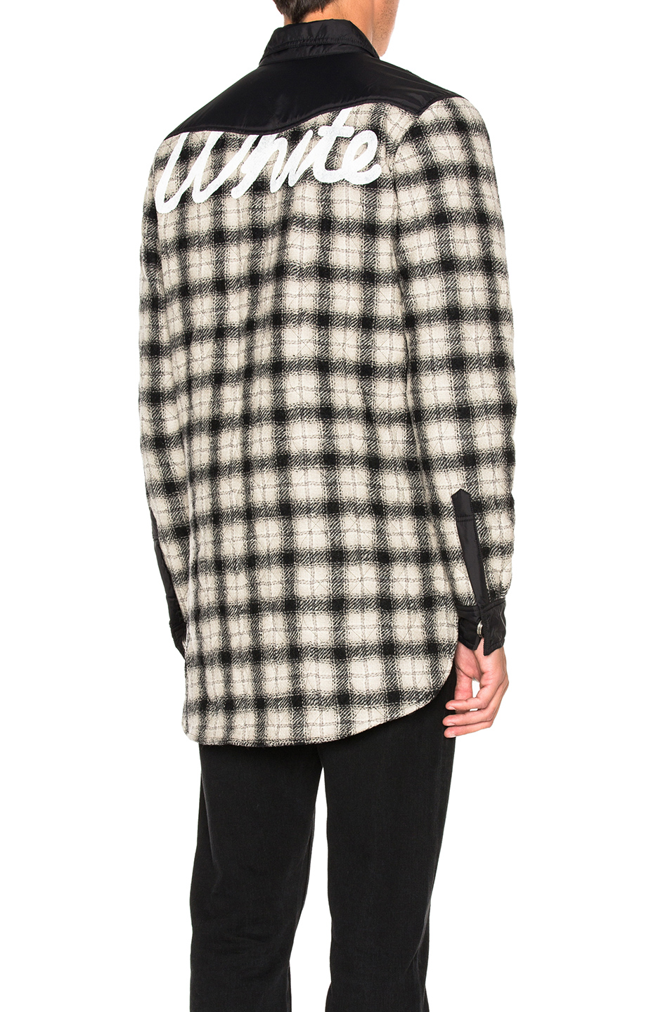 OFF-WHITE Quilted Flannel Button Down in Black,White,Checkered & Plaid