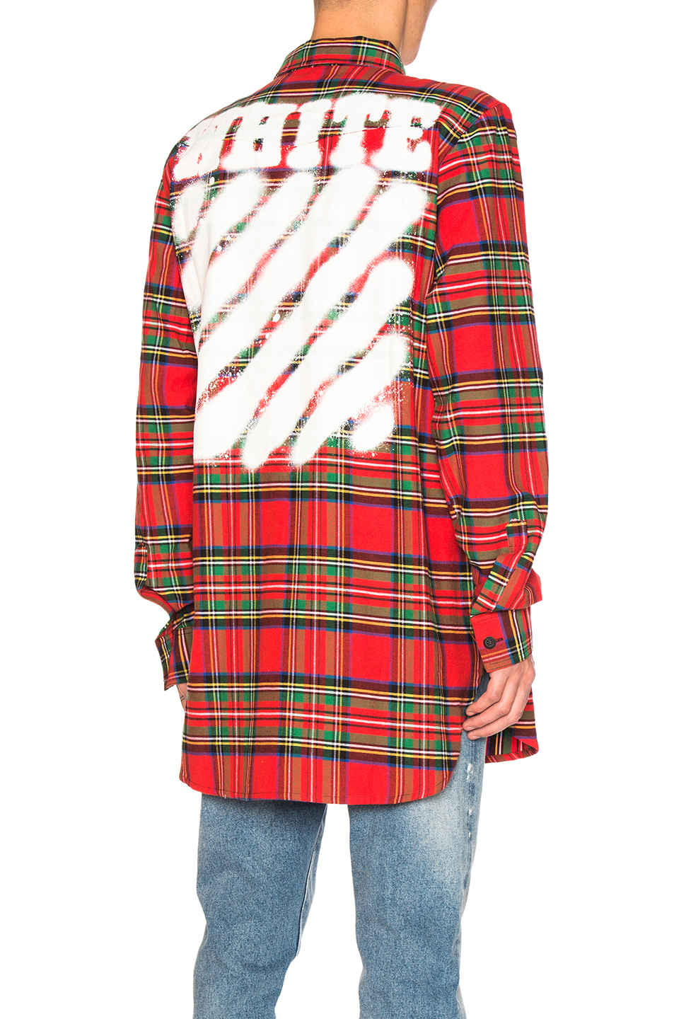 OFF-WHITE Diagonal Spray Check Shirt in Red,Checkered & Plaid