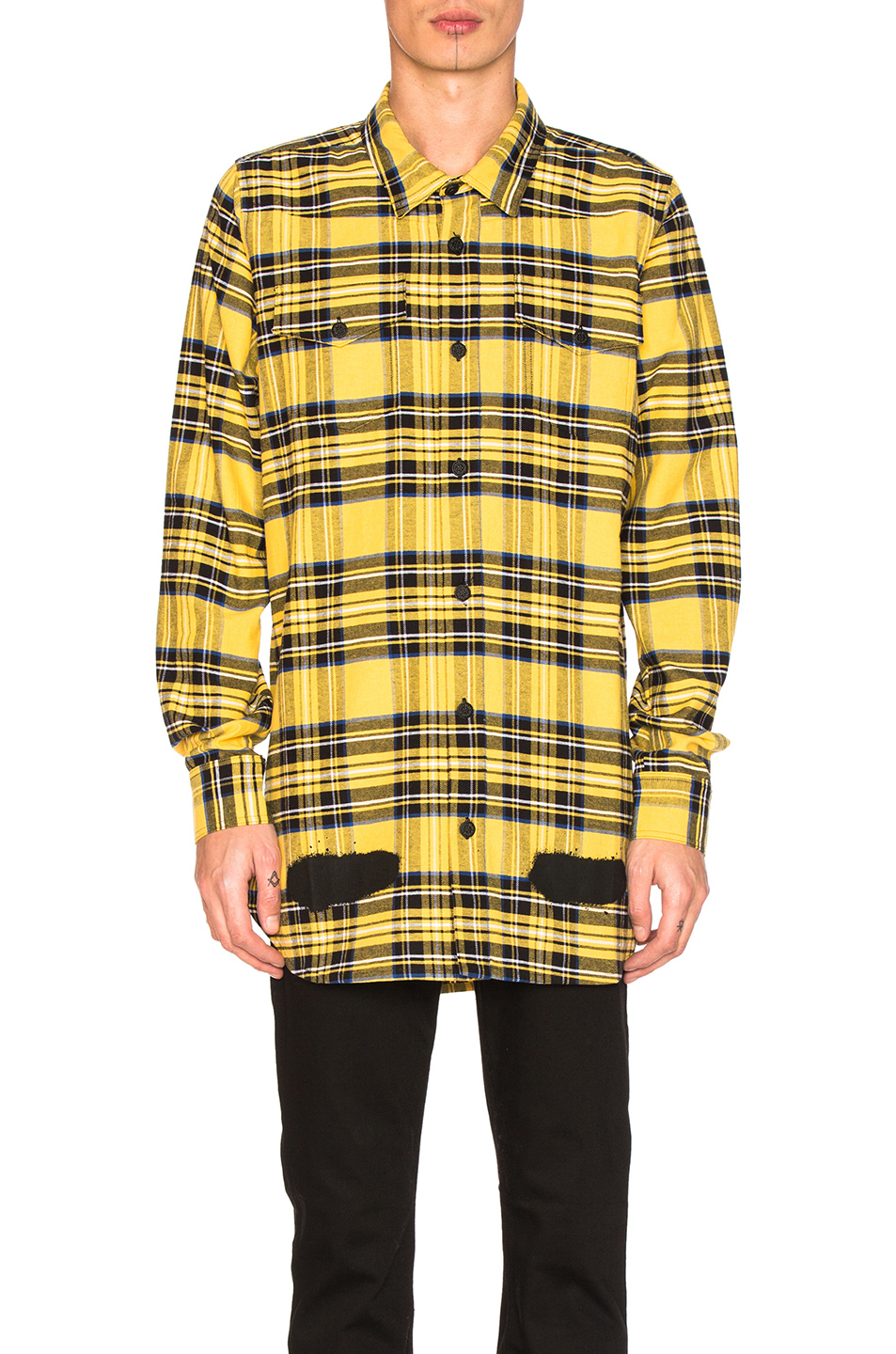 OFF-WHITE Diagonal Spray Check Shirt in Yellow,Checkered & Plaid