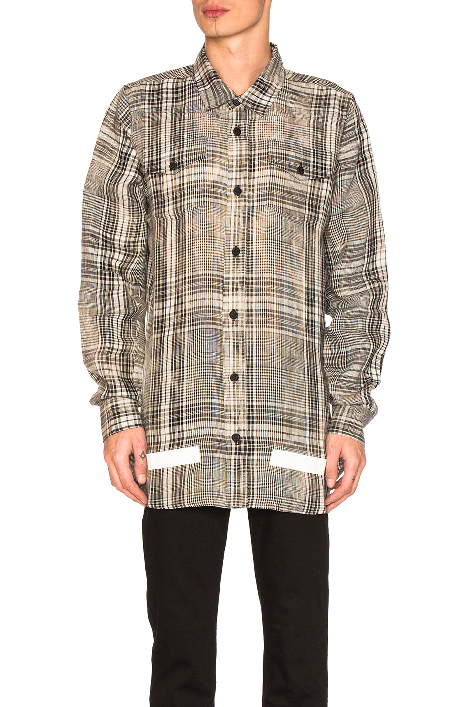 OFF-WHITE Linen Check Shirt in Black,Checkered & Plaid