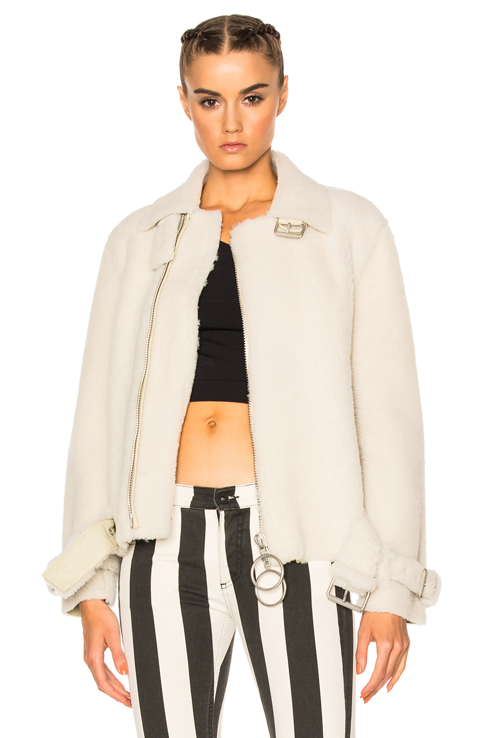 OFF-WHITE Shearling Fur Jacket in White