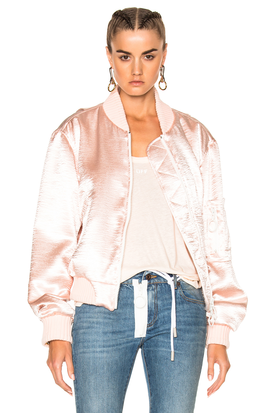 OFF-WHITE for FWRD Shiny Bomber Jacket in Pink